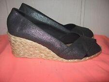 Ralph Lauren CECILIA Gray Metallic Peek Toe Slip On Linen Wedge SHOES Sz 7 EUC