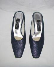 Stuart Weitzman Dk Blue Pebbled Canvas w/Silver Shimmer Lucite Heeled Mules 7.5B