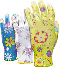 3 Pairs Ladies Gardening Safety gloves made of polyester, coated with polyuretha