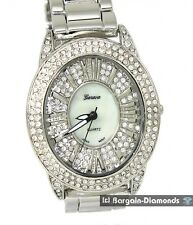 ladies silver tone fashion party watch CZ ice out oval link bracelet