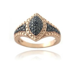 18K Rose Gold over 925 Silver Black Diamond Accent Marquise Ring