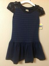 Harajuku Mini Elegant Dress BLUE/ BLACK FAUX LEATHER DRESS  Girls Size M (7/8)