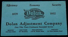 1932 Blotter Dolan Adjustments Collections Investigations - Fifty Years Service