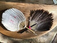 Antique Feather Fans One Black And The Other White w/ Hand Painted Floral Design