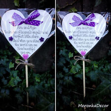 Memorial heart Purple-Unisex Baby funeral -Child Grave Ornament-Personalised