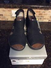 BZEES Spirit Black Wedge Slip On Peep Toe Sandals Size 6.5