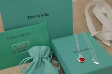 "Tiffany & Co. Mini Double Heart Tag Pendant Necklace Red Enamel 18"" Silver"