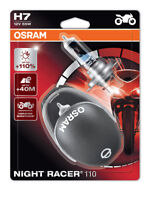 New! Osram H7 Night Racer 110 Motorbike Headlight Bulbs ECE (x2) in Helmet Box