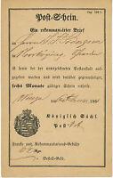 SACHSEN 1866 Postschein der Königlich Sächs. Post WURZEN - NORRKÖPING, SCHWEDEN