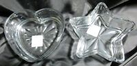 """Set of 2 Heart and Star Libby Clear Glass Candy Dish Treats Candles 6""""LX6""""W Gift"""