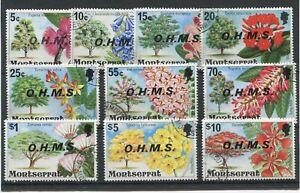 "MONTSERRAT -  O.7 / O.16  :  1976 / 1980 "" Flowering Trees OVERPRINTED O.H.M.S."""
