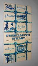 FISHERMAN'S WHARF VINTAGE MENU. KEWALO BASIN. HONOLULU. circa 1960s