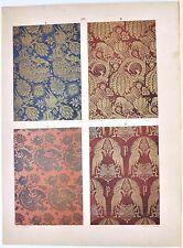 Stampa antica DECORAZIONI TESSUTI STOFFE Tav 119 animali 1883 Old antique print