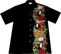 Hawaii Hemd Birds of Hawaii M - XL 100% Baumwolle Hawaiihemd Hawaihemd schwarz