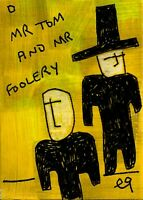 21021429 e9Art ACEO Abstract Figurative Hat Outsider Folk Art Brut Painting Naif