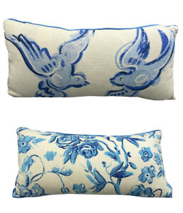New Creative Co-Op Throw Pillow Blue White Birds Floral Accent Pillow Rectangle