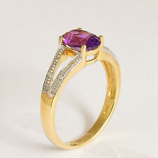 AMETHYST RING. PURPLE AMETHYST + DIAMOND IN 9K GOLD. SIZE N. FEBRUARY BIRTHSTONE