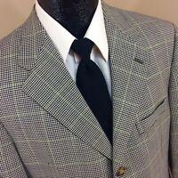 Tommy Hilfiger Black HOUNDSTOOTH Sport Coat Green CHECK Jacket Wool Blazer 40 R