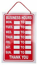 Red Business Hours Hanging Shop Sign / Restaurant - Opening Times