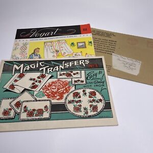 Vintage 1940s Lot Embroidery Patterns Iron On Transfers Needle Magic Fruit Roses