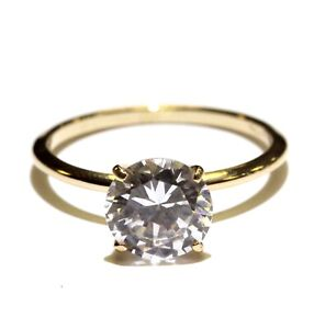 14k yellow gold round cubic zirconia cz engagement ring 2.4g size 7