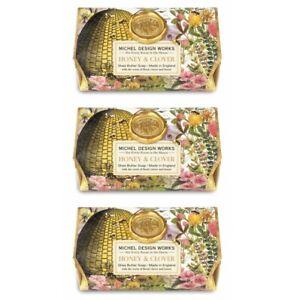 Set /3 Michel Design Works Large 8.7 oz Artisanal Bar Bath Soap Honey & Clover
