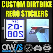 CUSTOM STICKER DECAL / DIRTBIKE NUMBER PLATE REGO REGISTRATION REC REG TRAILS