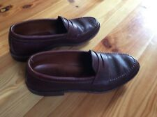 Allen Edmonds brown pebble grain football penny loafers 9 D
