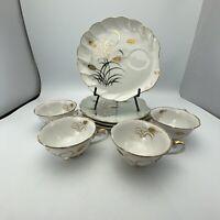 vintage NE1446 Japan Hand Painted Tea And Dessert Plate Set Of 4