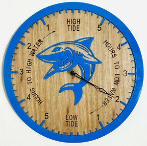 Tide Clock Australian Made Tasmanian Oak Wood Aqua Blue, Shark Art Design