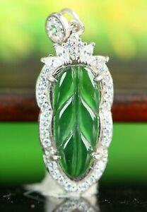 Cert'd Untreated Green Nature Grade A Jadeite Jade Pendant leaf a43403251