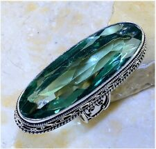 HUGE! GREEN APATITE STONE ANTIQUE DESIGN SILVER PLATED STATEMENT RING SIZE 9.5
