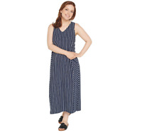 AnyBody V-Neck Cozy Knit Maxi Dress NAVY STRIPE Color Size Petite S