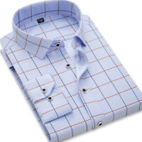 New Mens Fashion Long Sleeve Plaids Checks Luxury Casual Slim Dress Shirts GT443