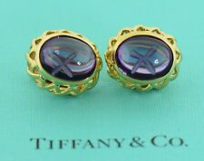 Tiffany & Co Paloma Picasso Amethyst 18K Yellow Gold Earrings