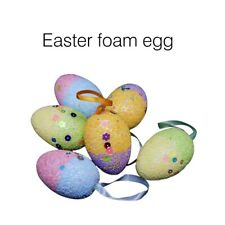 12Pcs Easter Egg Decorations Foam Egg Diy Colored Drawing Hanging Ornaments