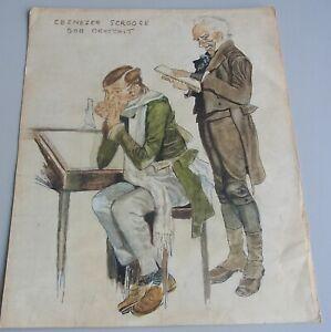 Drawing Um 1900: Ebenezer Scrooge Bob Cratchit (A Christmas Carol IN Prose)