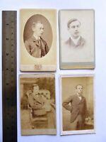 4 x  Victorian Carte de Visite Card Photograph of Victorian Gentlemen