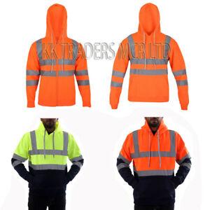 Men's Hi Vis Hooded Pullover High Visibility Safety Reflective Security Jacket