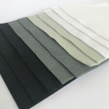 Wool Mix 9 inch Felt Squares x10 sheets Grey, Black and White Bundle Craft Felt