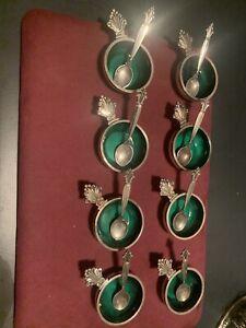 GEORG JENSEN STERLING Green ENAmel SALT CELLARs + SPOONs Set Of 8. Acanthus