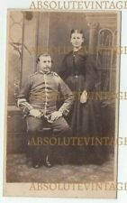 MILITARY CDV PHOTOGRAPH SOLDIER IN UNIFORM & WIFE ? VINTAGE 1860S