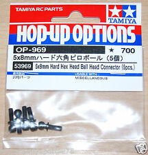 Tamiya 53969 5x8mm Hard Hex Head Ball Head Connector (5 Pcs.) (XV-01/TRF419) NIP