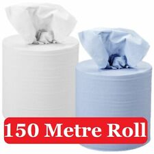 Centrefeed ROLL Blue / White Flat Sheet, Paper Wipe Towel Tissue ** 150 meter **