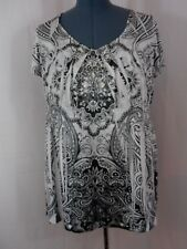 One World Black White & Gray V-Neck Empire Waist Short Sleeve Tunic Top Size 1X