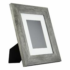 Bauhaus Table-Top 8x10 Modern Gray Barnwood Standing Picture Frame with Mat