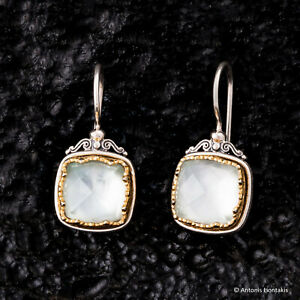 Gerochristo Silver Byzantine Handmade Earrings with Mother of Pearl and Quartz