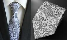 Argent et Noir Motif Cachemire à Motifs Fait Main Cravate 100% soie