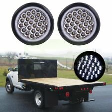 2X 4 Inch Round 24-LED Tail Light Reverse Backup Lamp White For Truck Trailer