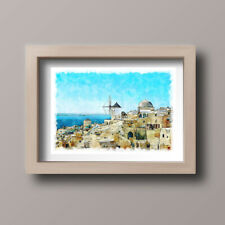 Watercolour Santorini Greece Scene Home Print,Gift,Wall Art A4-Unframed